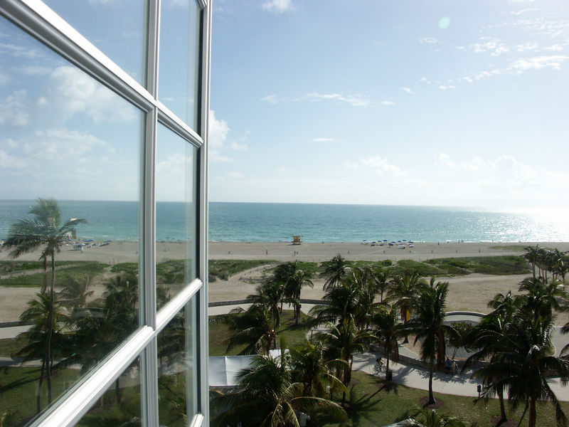 View of the park and the ocean from The Park Central 6th floor center hotel room we had.