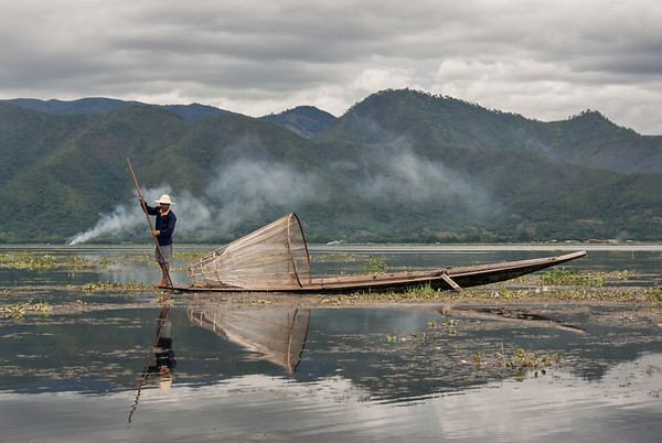 Fishermen of the Inle Lake, in Burma, have developed a unique way of fishing by paddling with one of their legs.