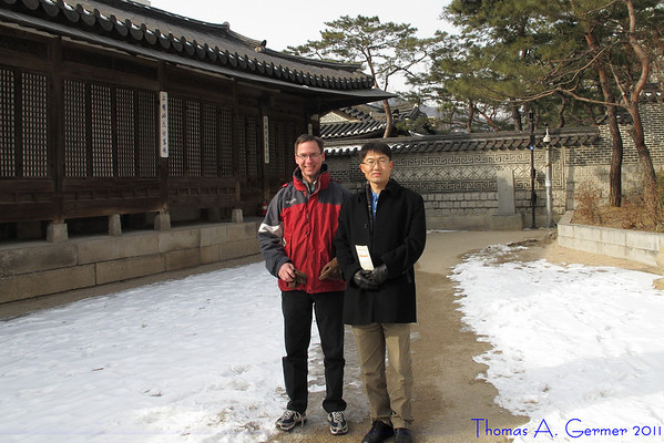 Junghyeun Kim (right), a former graduate student of mine, was very gracious and signed me up for a tour of an old part of Seoul.  Because it was so cold, we were the only people on the tour.