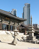 Bongeunsa Temple with high rises in the background, Seoul, South Korea