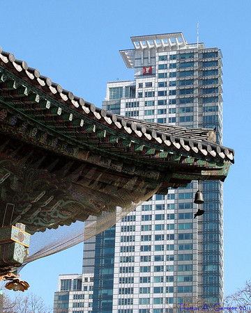 Bongeunsa Temple with high rise in the background, Seoul, South Korea
