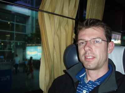 Frederick in the airport bus at Seoul Incheon Airport
