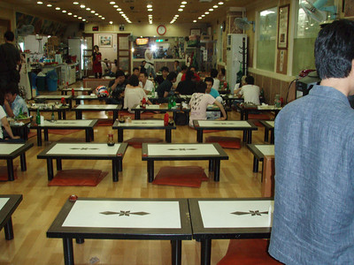 Restaurant in the basement of the Seoul Fish Market. They prepare the seafood people buy at the market. It's a Korean style restaurant so there are no chairs.