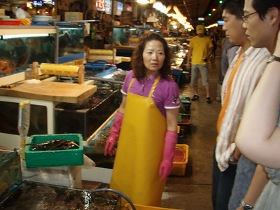 Gap and his cousin at the Seoul Fish Market, picking out a lobster. The lobster cost US$98, but it was enough for 4 people.