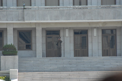 North Korean soldiers stand guard on their side of the MDL. Visitors cannot gesture or point at the North Korean troops and they must also abide by a dress code to prevent our images from being used in propaganda.