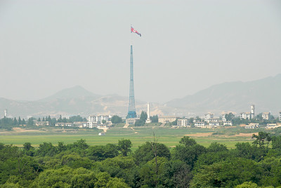 Kijong, a ghost town just across the border in North Korea. There is a 160 meter tall flagpole with a 300kg flag. The buildings were erected to entice South Koreans to defect to North Korea but they are uninhabited.