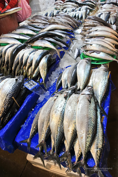 Fish lined up for sale at a stall