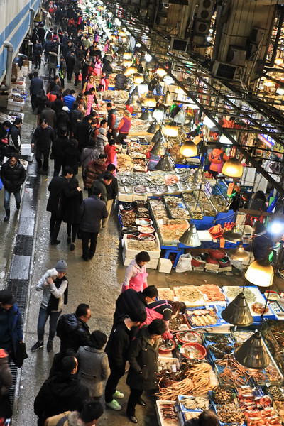 View of the market from the top of the stairs when you enter the market.