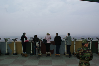 This is a lookout point where you can see the North Korean fence. You know what you see? Tell me, please. It was way too hazy.