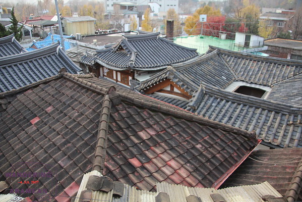 The old tile roofs of Seoul's Hanok Village