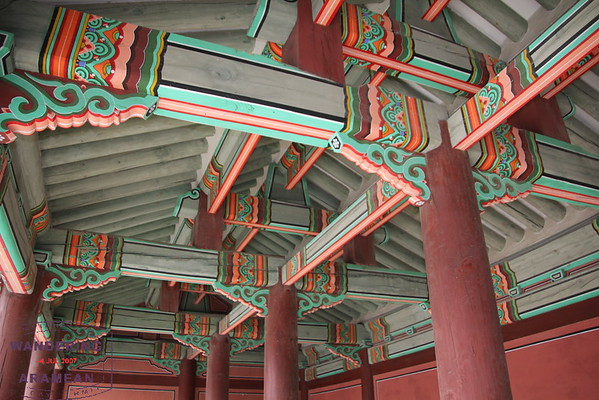 Awesome detail in the wood beams of Seoul's Gyeongbokgung Palace