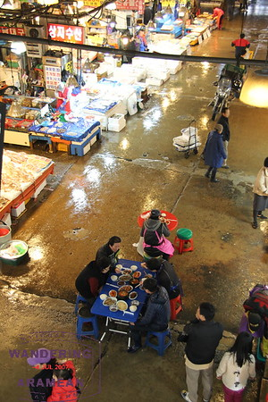 This group of employees simply set up in the middle of the market for lunch. We chose to visit one of the Noryangjin fish market restaurants instead.