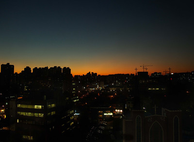 Our first Korean sunset. Mapo-gu, Seoul
