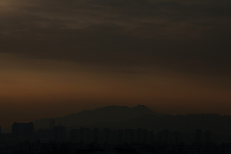 Dawn over the city of Seoul.