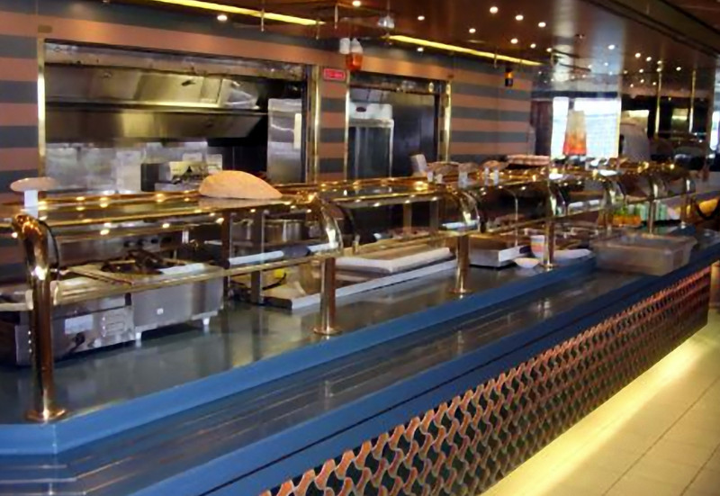 The Lido Restaurant…about ¼ of the buffet line. (Beyond Ships file photo.)