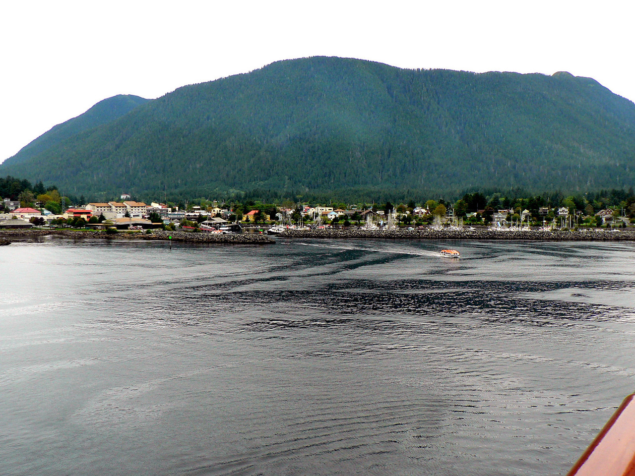 In Sitka we had to anchor in the bay and be tendered ashore.