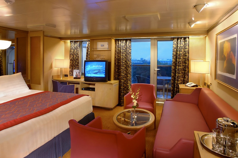 This was essentialy our stateroom, although we had a flat screen TV. (A Holland America file photo.)