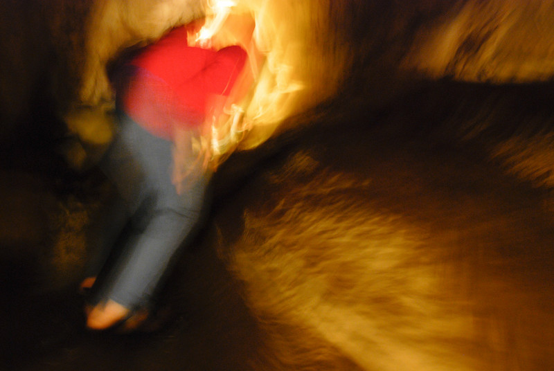 "<span id=""title"">Boyden Cavern</span> My wife walking through the cave in a 1 second exposure. I didn't mean to use such a slow speed, but I like the effect - it's like the cave is trying to grab her. Ooh, scary!!!"