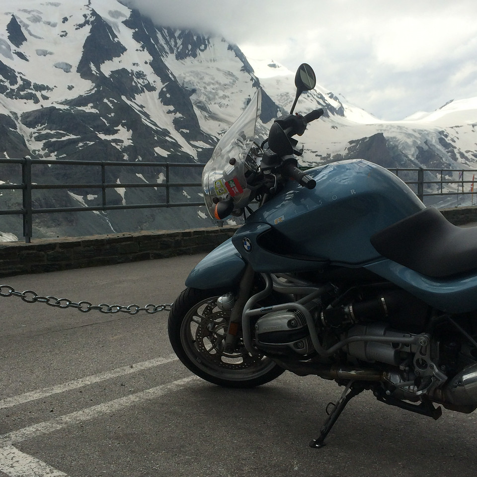 Atop the Großglockner Hochalpenstraße.  That really was one of the great highlights of this trip.  Most of the passes were very tight and technical, but this high alpine road had some distance as well as the tight hairpins, making it possible to open up a bit.  I got some great video footage riding here.