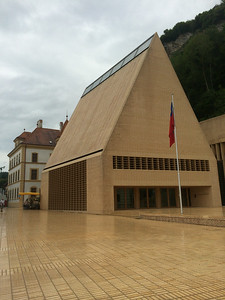 Not sure what this building in Vaduz, Liechtenstein, is, but it's very distinctive.