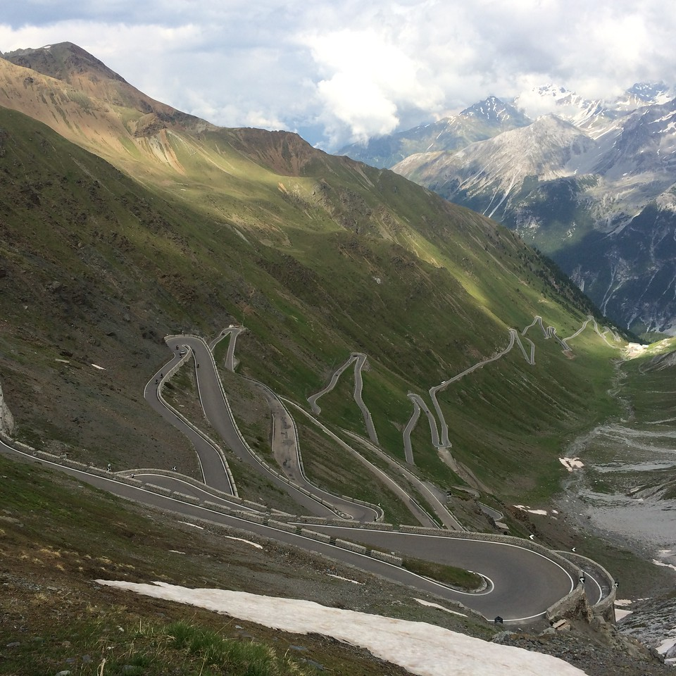 This is the top of the Italian side of Stelvio.  This is why Top Gear considered it the best motorcycling road in the world for a while (since replaced, I think, by Romania's Transfăgărășan highway.)