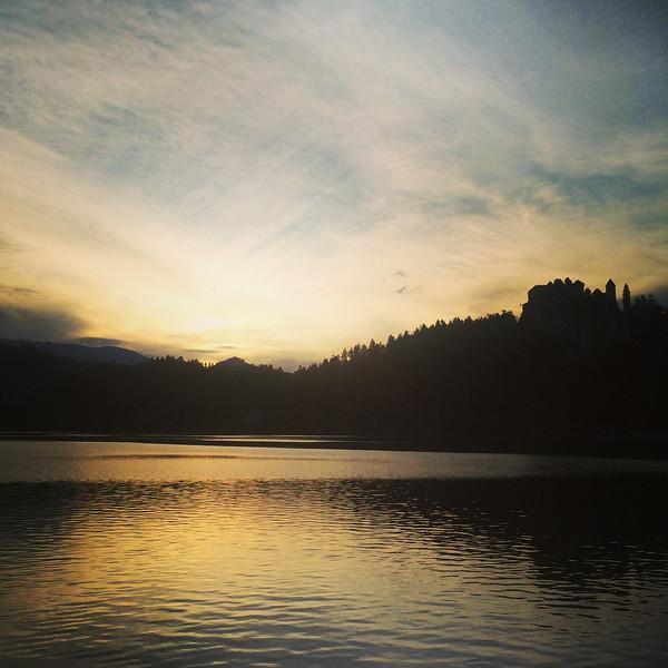 Sunset at Lake Bled, Slovenia.