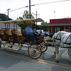 A horse drawn bus passed by....