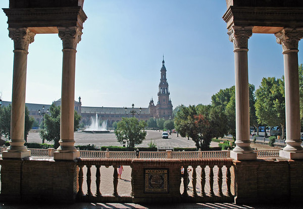 The Plaza de España is one of Seville's most easily recognised buildings and the epitome of the Moorish Revival in Spanish architecture. In 1929 Seville hosted the Spanish-American Exhibition and numerous buildings were constructed for the exhibition in Maria Luisa Park, among them the Plaza designed by Aníbal González. On the Park's edge was built the current Plaza de España to showcase Spain's industry and technology exhibits.