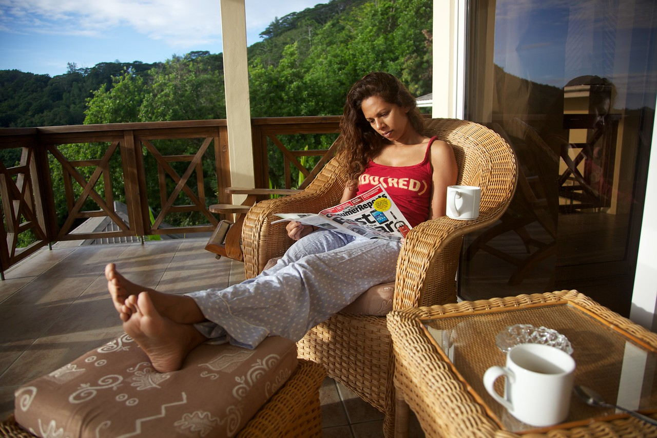 Morning coffee at our pad in Mahé