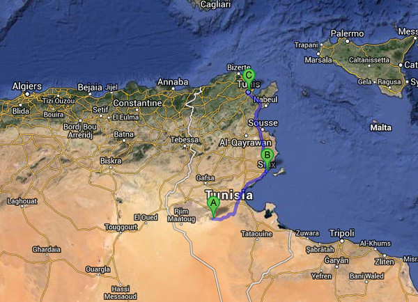 The route from Douz to Tunis.  A = Douz, B = Sfax, C = Tunis.