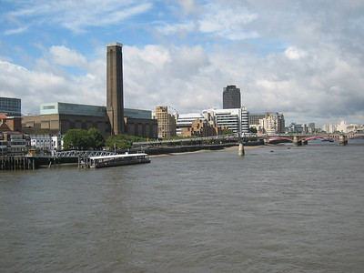 The Globe Theatre, taken from the Vauxhall Bridge.  The theatre is the white building to the left of the power station.