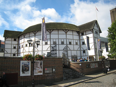The Globe theatre on the South bank of the Thames.
