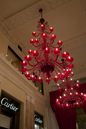 Glitzy chandeliers and high end boutiques