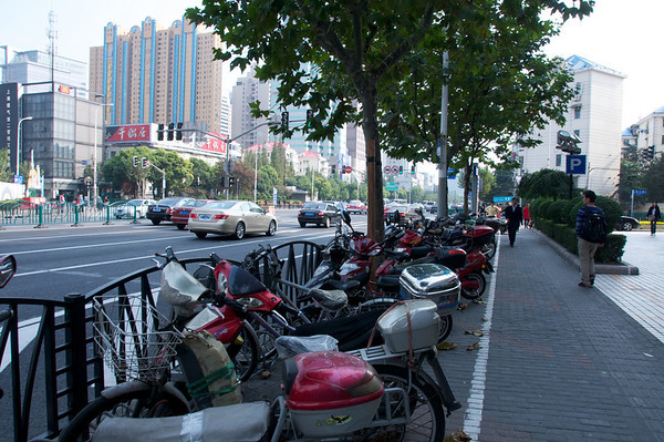 Rows of motor bikes