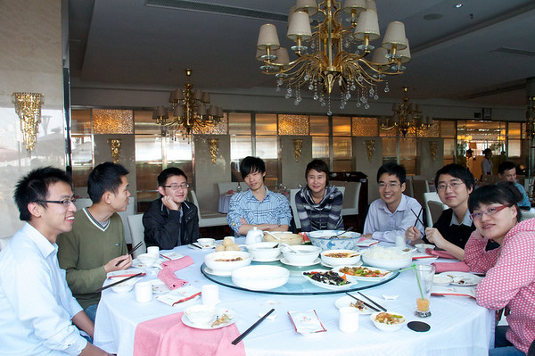 Me and colleagues share a round table lunch