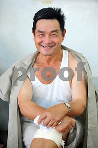August 2010-Shanghai, China- The people in Shanghai, China, find a way to carry on with temperatures in excess of 108 degrees and heavy humidity.   An 80 year young man, relaxes in the park after a vigorous tai chi work out.  Photo by SMP   ZUMA Press