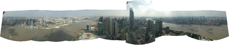 "View from TV Tower in Shanghai.  Just threw a bunch of shots into CS3 and clicked ""Photomerge""..."