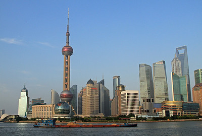 Pudong, viewed across the Huangpu River from the river promenade along The Bund.