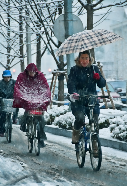 Cyclists battle a winter snow squall in Shanghai.