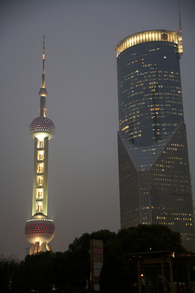 The Oriental Pearl Tower after dark.