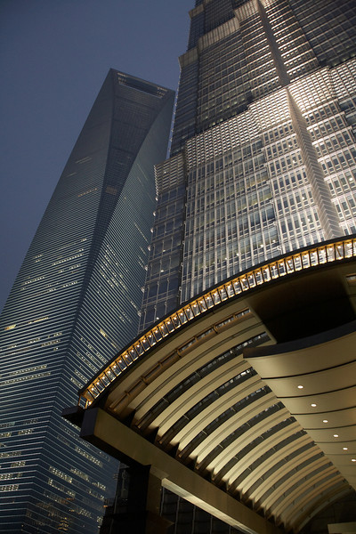 The Shanghai World Financial Center and the Jin Mao Tower after dark.