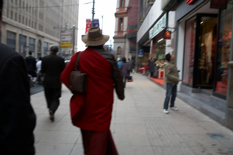 This guy had on an interesting outfit, from Tibet.