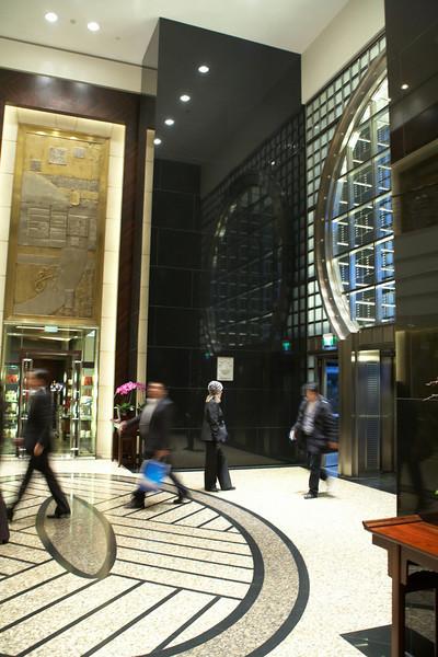 The lobby of the Shanghai Grand Hyatt in the Jin Mao Tower.