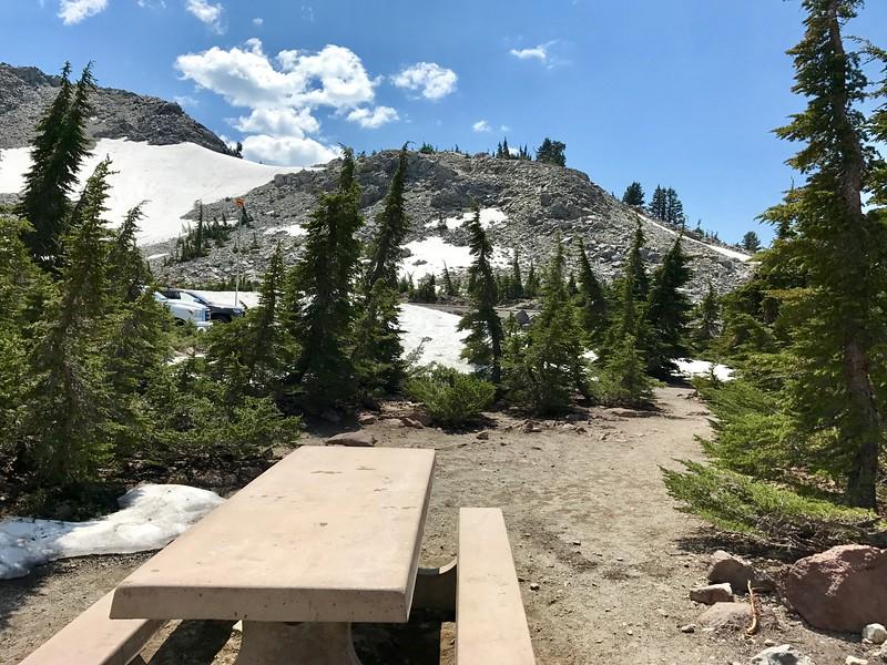 Picnic table at Lake Helen