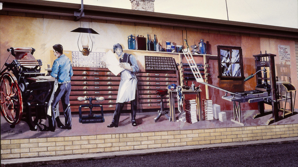 Printer / Printing Press - Wall Murals at Sheffield, 9 December 1995; , Sheffield, Tasmania, Australia. Photos by Des Thureson, scanned from 35mm transparencies.