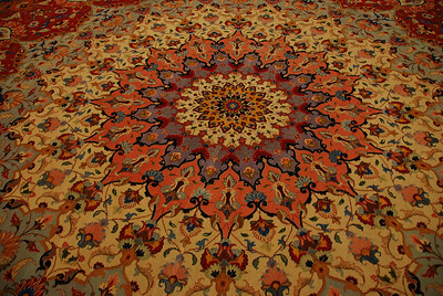 Part of the handmade carpet in the main prayer hall.
