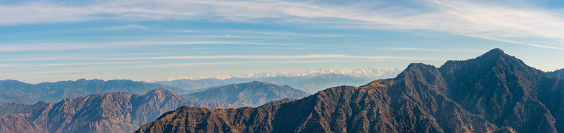 Panoramic view of the Himalayas at Naldehra, Himachal Pradesh (HP), India situated near (18 km) but still away from Shimla buzz and chaos. One can sense the calmness and purity of the Himalayas in the air retaining Himachal's unspoiled charm, the picturesque beauty.