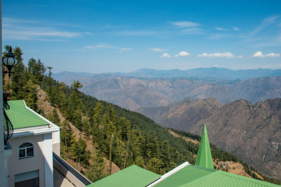View from the room. Club Mahindra Naldehra resort (Pristine Peaks), situated near (18 km) but still away from Shimla buzz and chaos. At Naldehra one can sense the calmness and purity of the Himalayas in the air retaining Himachal's unspoiled charm, the picturesque beauty.