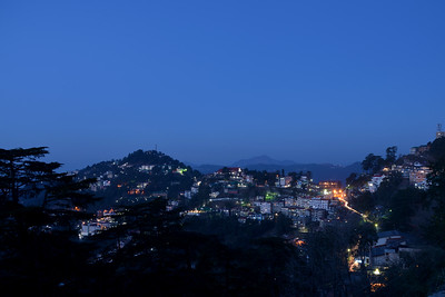 Evening view of Shimla at The Mall Road, Shimla, Himachal Pradesh.