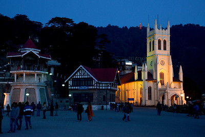 Evening view of The Mall Road, Shimla, Himachal Pradesh.